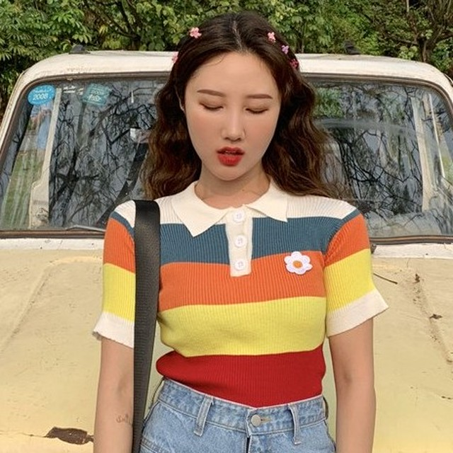 【tops】半袖ファッションPOLOネックプルオーバーTシャツ