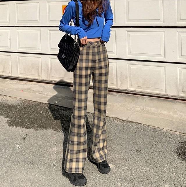 High waist check pants LD0466