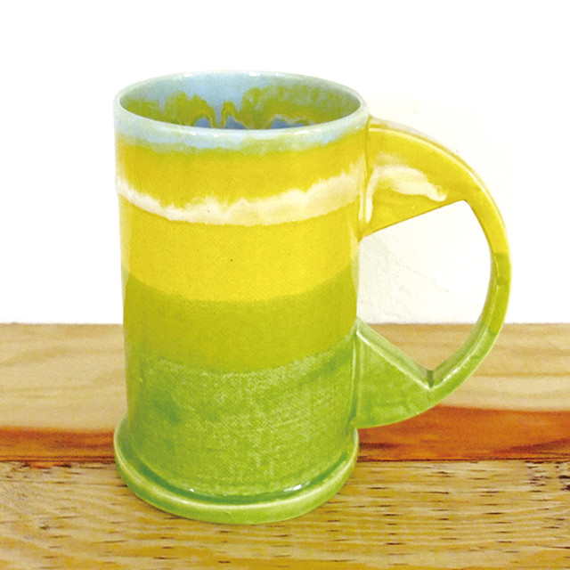 "Echo Park Pottery ""Large Mug"" Yelllow×Green"