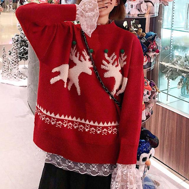 【tops】ゆったり雰囲気クリスマス雪花セーター