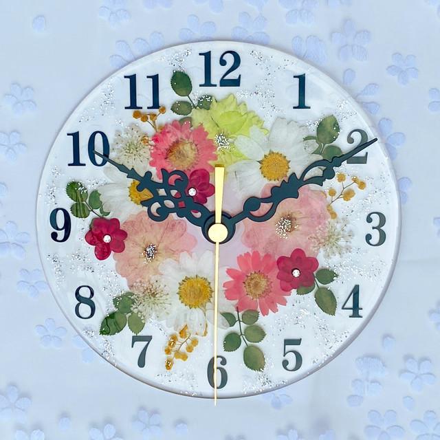 【母の日ギフト】押し花 花時計 【フラワーガーデン・ピンク】 φ15cm ハンドメイド ギフト ボックス入り