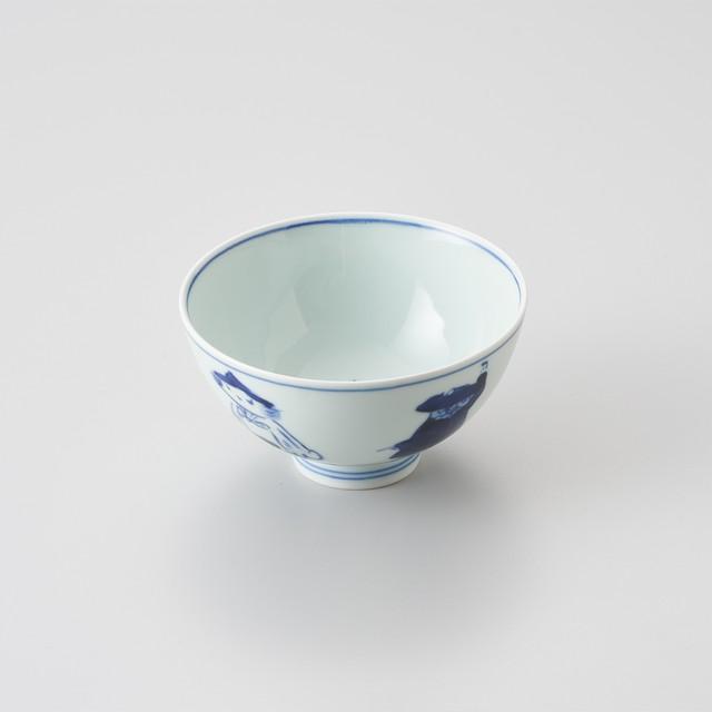 """【青花】""""五人異人"""" 3.8寸丸飯碗"""