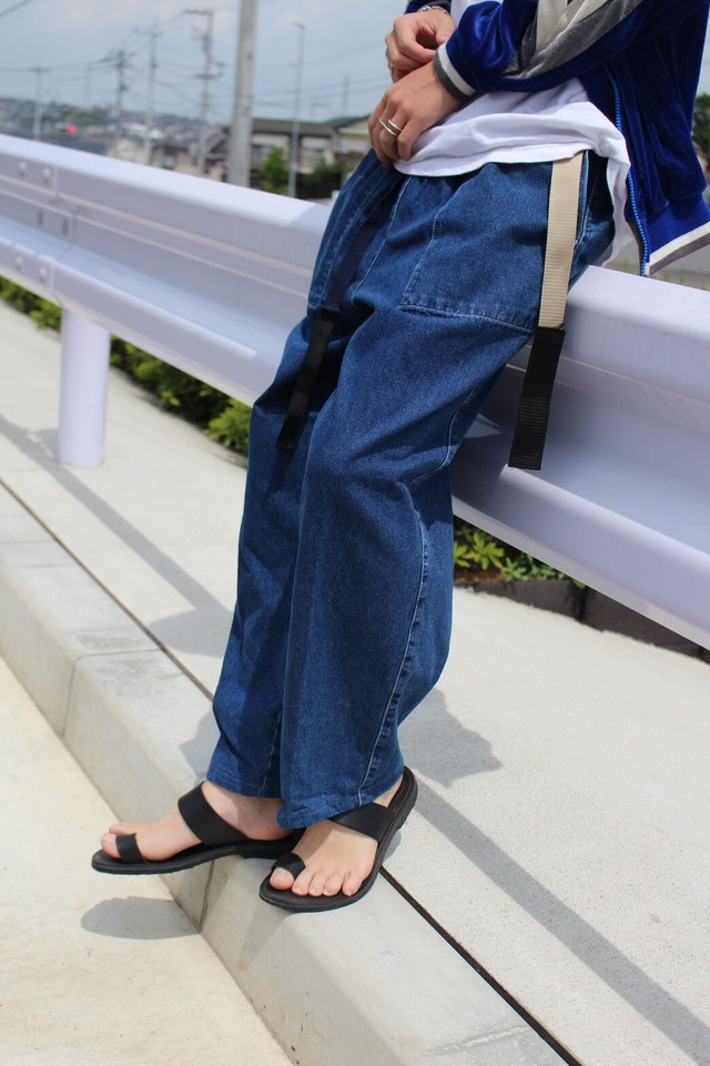 REMAKE BELT WIDE DENIM PANTS