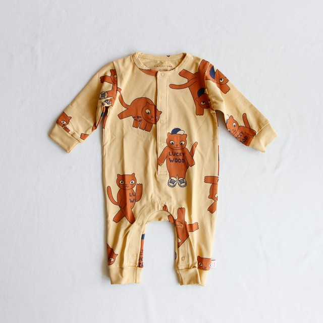 《TINYCOTTONS 2019AW》CATS ONE-PIECE / sand × brown / 6M
