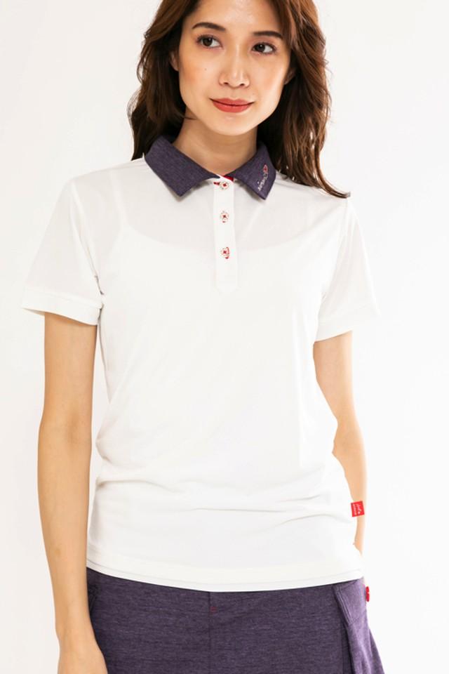 デニムライク襟配色ポロシャツ(WOMEN)/パープル:1801091
