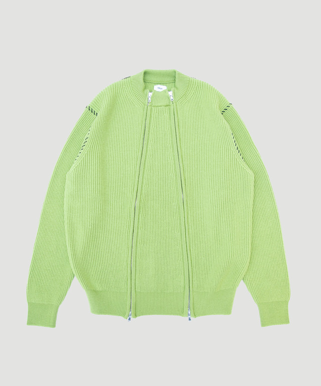 Allege Double Zip Rib Knit Green AH19W-KN03