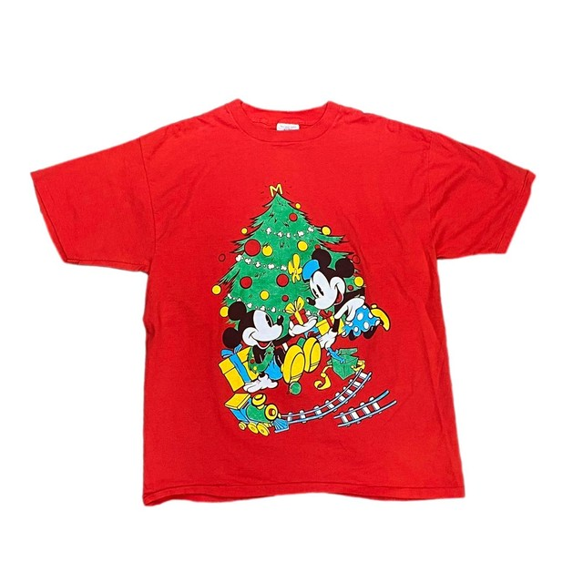 B DISNEY MICKEY & MINNIE MOUSE CHRISTMAS TEE RED ONE SIZE FIT LIKE XL 5777