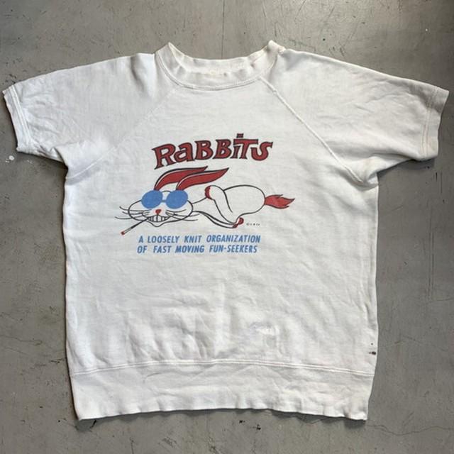 50's 60's UNKNOWN RaBBiTs 染み込みプリント 半袖スウェット ホワイト ウサギと亀 寓話 キャラクター リペア有り M位 希少 ヴィンテージ BA-1127 RM1496H