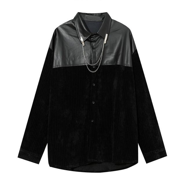 3:AM 秋冬セレクトアイテム ユニセックス PUレザー×コーデュロイシャツ No.0113