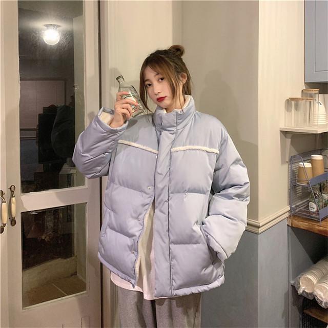 【送料無料】リバーシブルで楽しめる♡ もこもこ ボア パイピング ダウンジャケット くすみカラー 寒色カラー