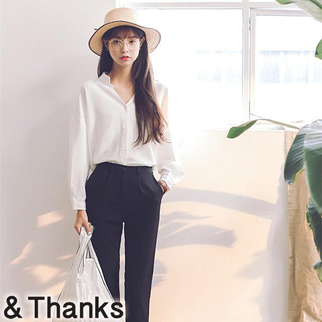 【即納Msize】シンプルコーデ Vネックシャツ 1カラー 4サイズ