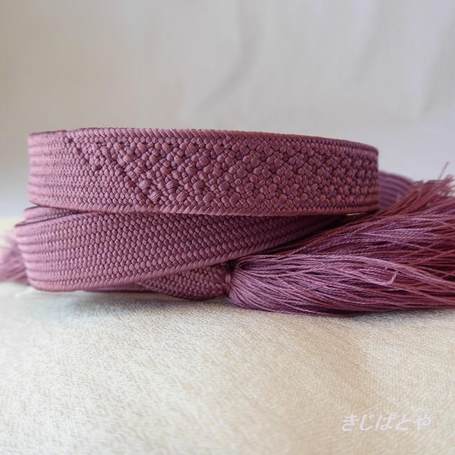 正絹 菖蒲色の平織りの帯締め