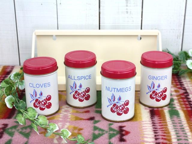 レトロな缶キャニスター 壁掛けラック付き ブリキ Tin キッチン雑貨