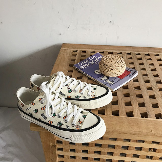 【shoes】美脚キャンバス配色カートゥーンプリントローカット帆布スニーカー