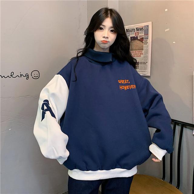 【トップス】ファッションゆるリラックス長袖ハイネックパーカー35204539