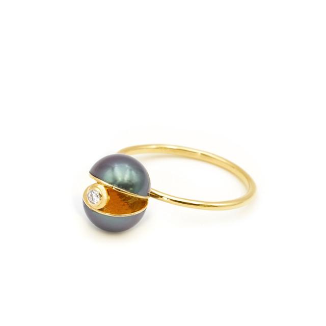 Pearl×Pearl Dia Ring(black)