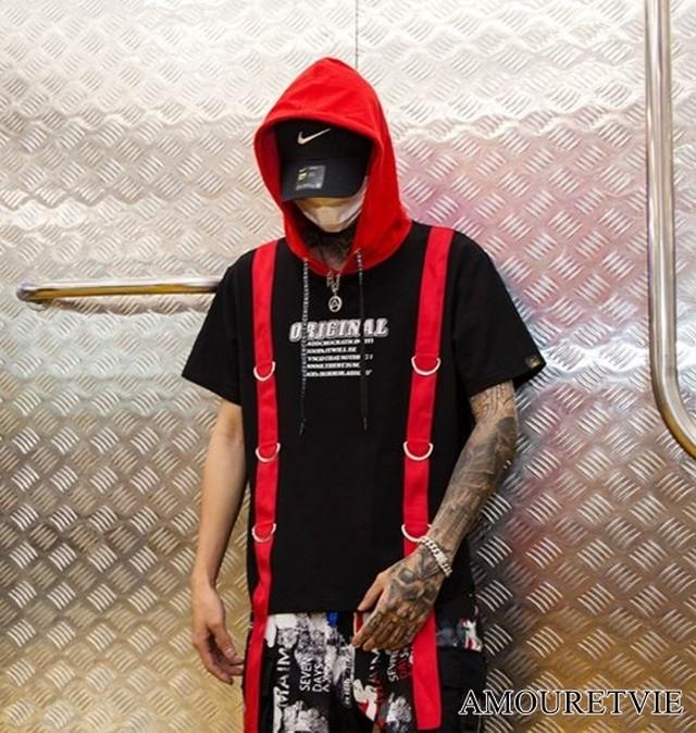 メンズ Tシャツ カットソー フード付き スタイリッシュ 赤 レッド イエロー ストリート カジュアル オルチャン 韓国ファッション 1433