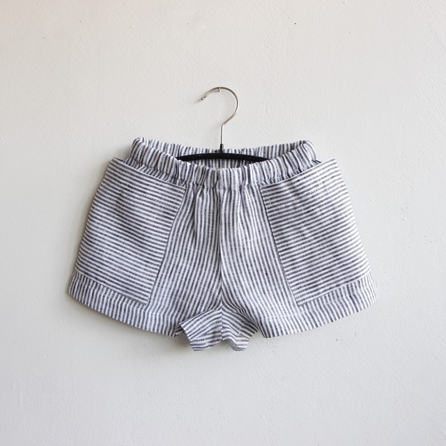 《AS WE GROW 2021SS》POCKET SHORTS / Striped Linen