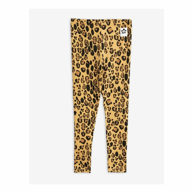 【19AW】 mini rodini ( ミニロディーニ ) - Basic leopard leggings【Beige】 [80/86・92/98・104/110・116/122]