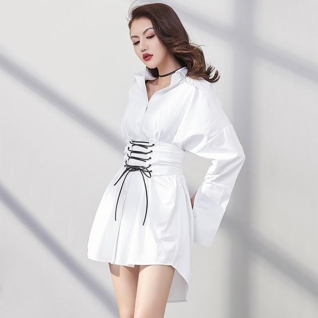 【ワンピース】通販韓国系長袖シングルブレストPOLOネックAラインワンピース32610999
