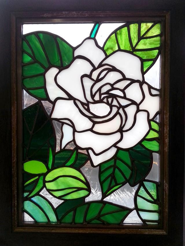 Gardenia・くちなしのステンドグラス セミ・カスタムメイド