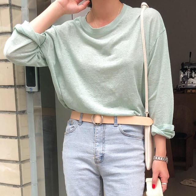 【tops】シンプル着痩せ長袖着痩せニット薄手日焼け止め冷房対策合わせやすいTシャツ