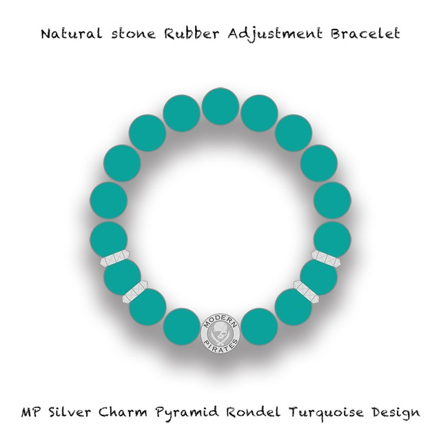 Natural Stone Rubber Adjustment Bracelet / MP Silver Charm Pyramid Rondel Turquoise Design