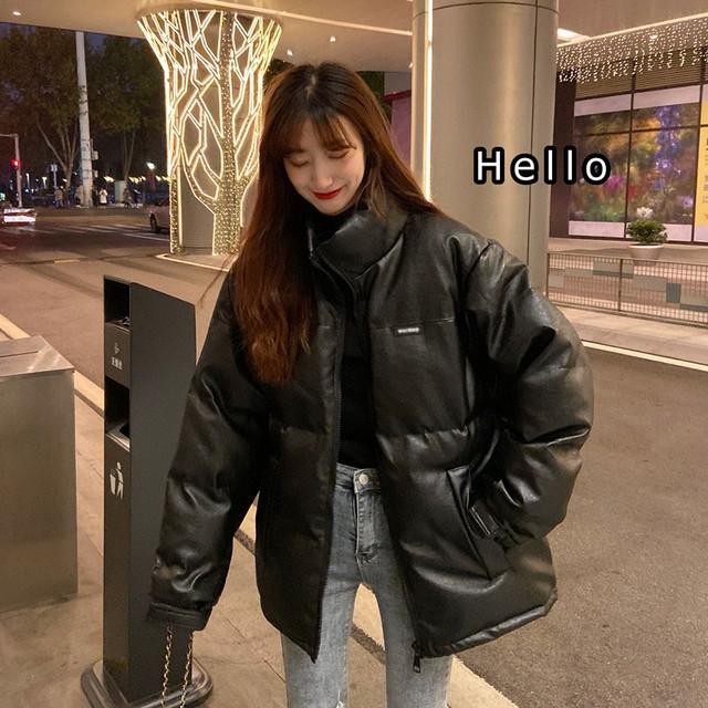 【アウター】韓国系スタンドネックプリント無地ジッパーダウンコート35935409