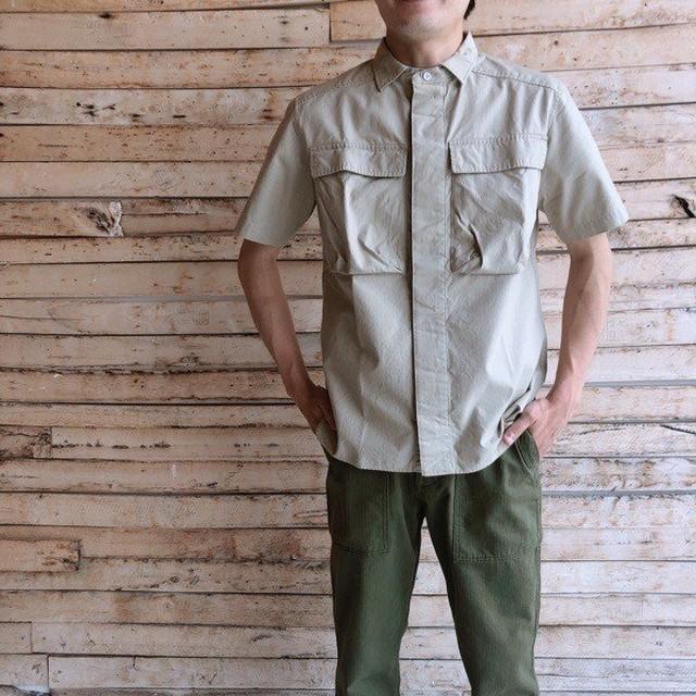 LOLO(ロロ) リップストップ半袖シャツ  ベージュ LS-336