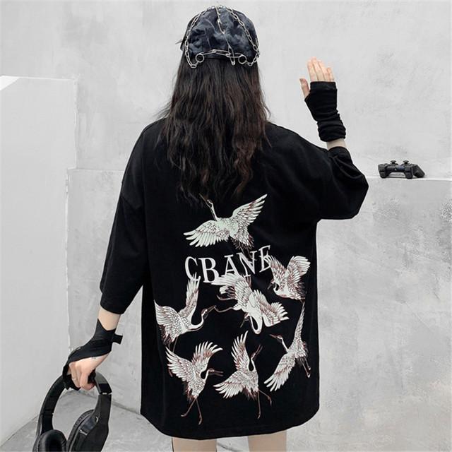 【トップス】シンプルカジュアル動物柄プリントラウンドネックTシャツ44393663