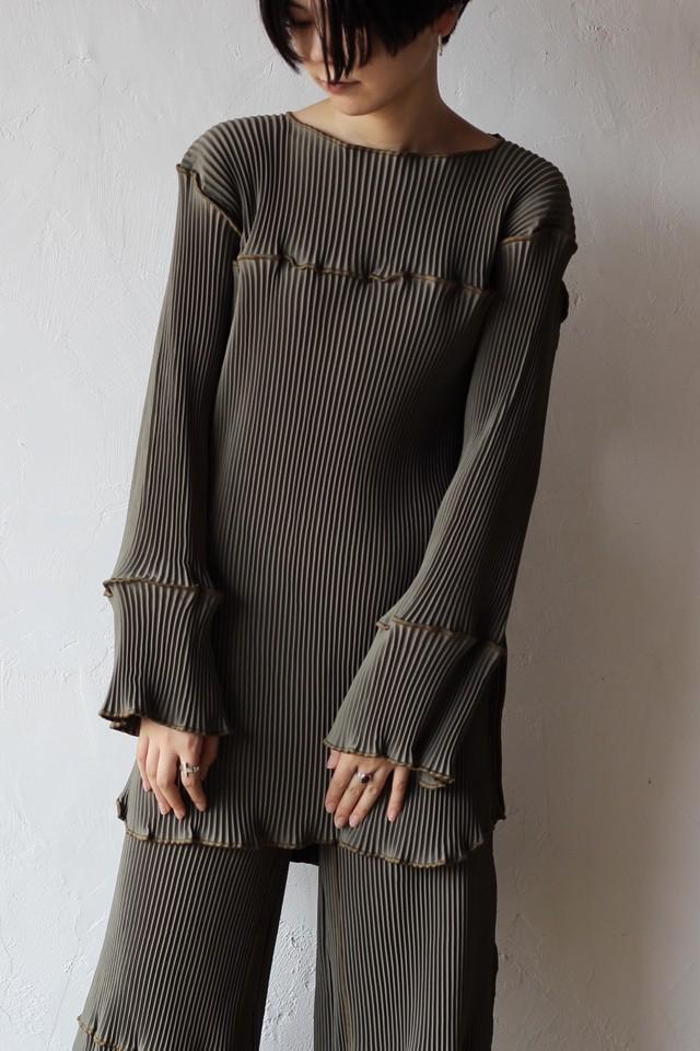 【kotohayokozawa】pleats mini dress-khaki