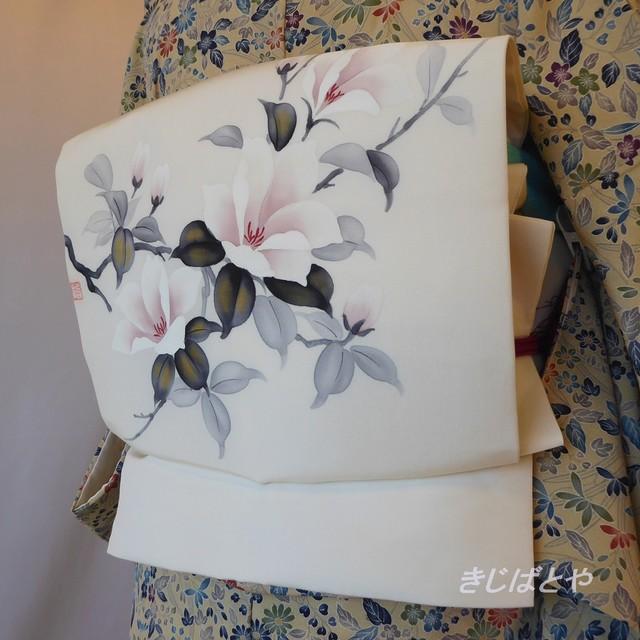 正絹塩瀬 白地に白花のなごや 作家物