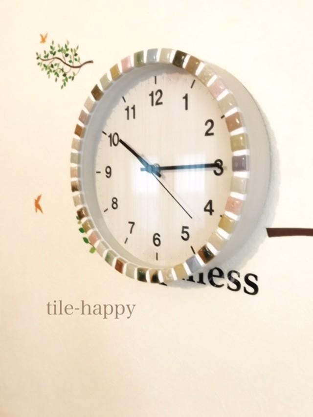 【新作】ふんわりカラーのモザイタタイルの時計B