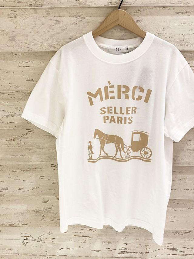 merciロゴTシャツ/Mサイズ[Color:ホワイト×ーベージュ]