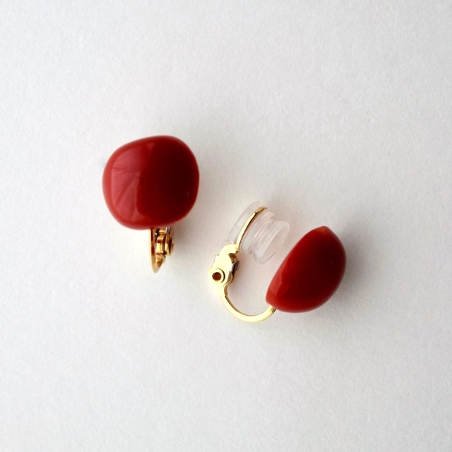 """Rose petals"" Red coral clip-on earrings"