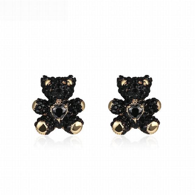 黒くまのピアス キラキラ 韓国アクセサリー レディース ピアス キュービックジルコニア クリスタル 熊 クマ くまちゃん シルバー ベアー アニマル 合金 シルバー925 / Black Love Bear Silver Pin Earring (DTC-604618691350)