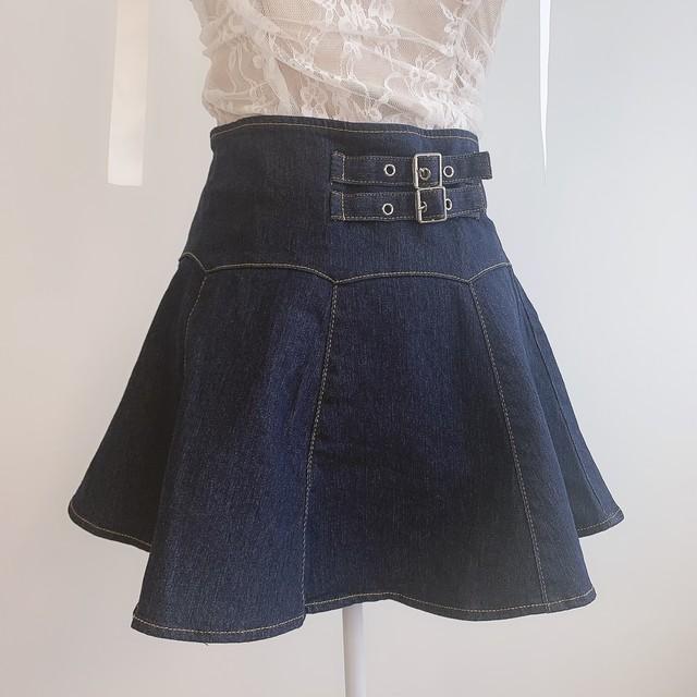 【即納】デニムプリーツスカート