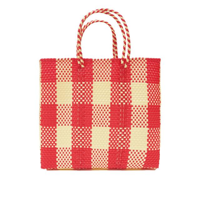 MERCADO BAG CHECK -Red x Cream(M)