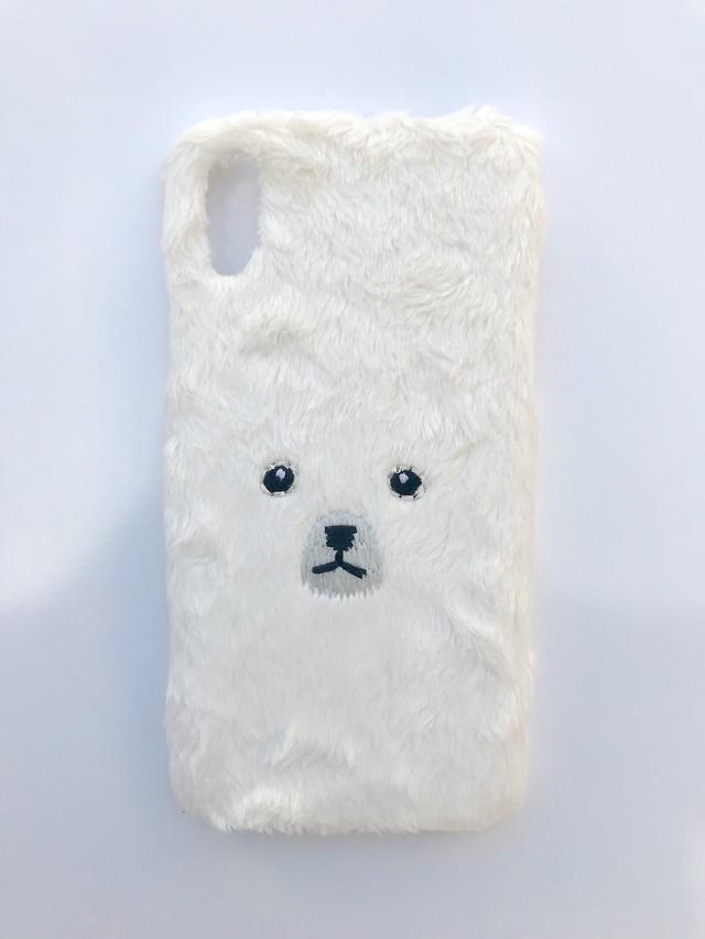 【iPhoneX/Xs専用】くまiPhoneケース【ホワイト】