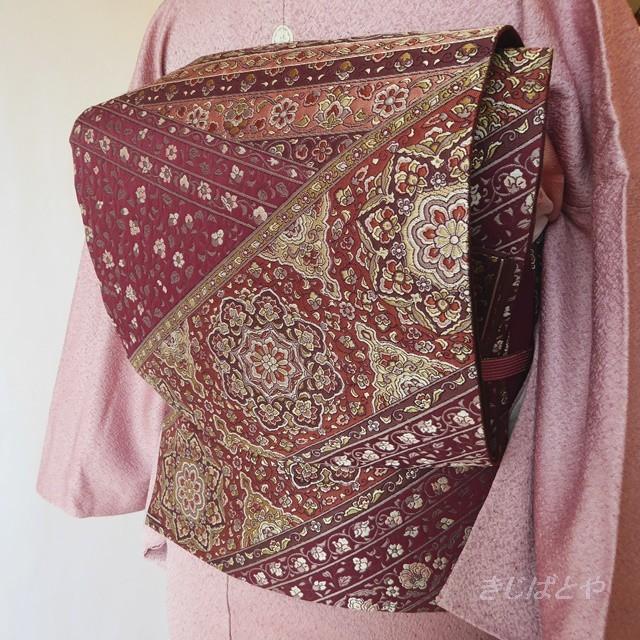 正絹 小豆色に総柄の袋帯