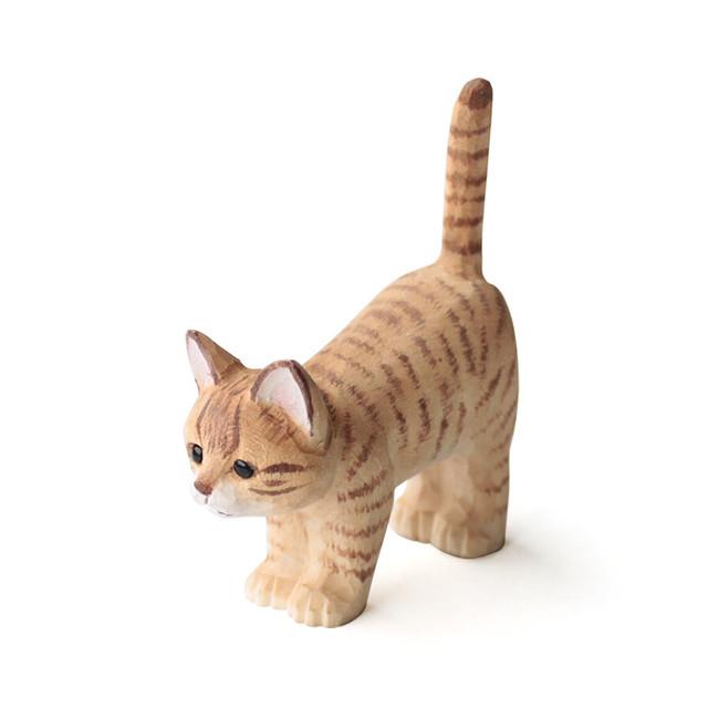 猫リングホルダー(ウッデンアニマルキャット)茶トラ