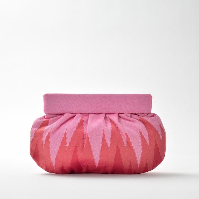 手織りクラッチL  ジグザグ柄  ライトピンク(新入荷)
