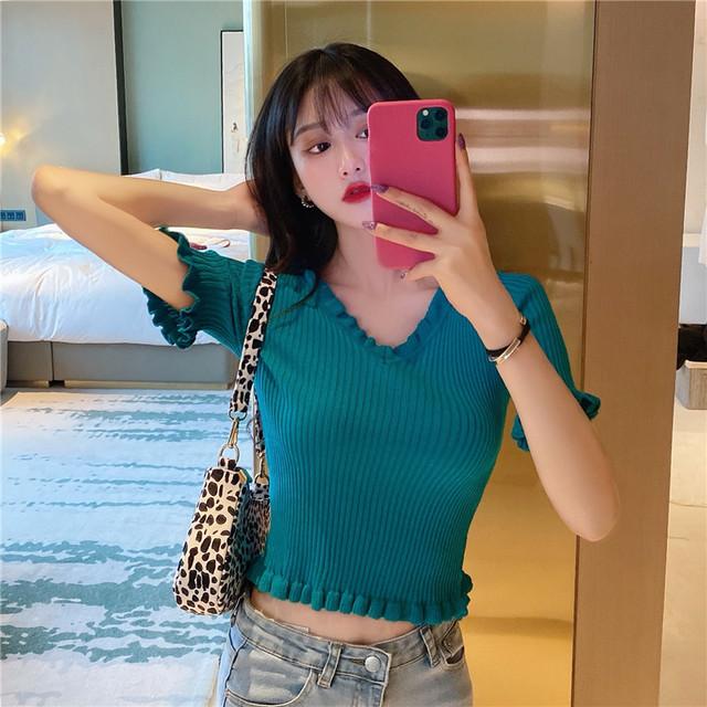 【トップス】韓国系半袖VネックプルオーバーニットTシャツ28067399