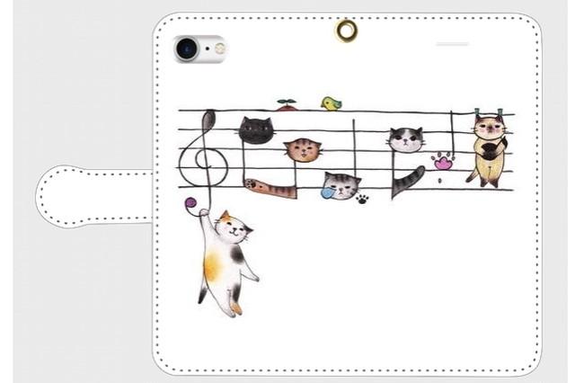 (iPhone用)楽譜猫の手帳型スマホケース