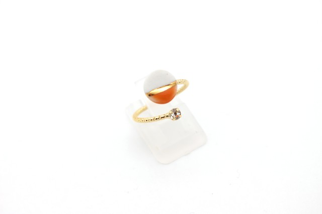 有田焼リング 2トーン  白×オレンジ