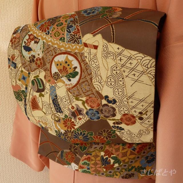 正絹 ベージュに縞の袋帯