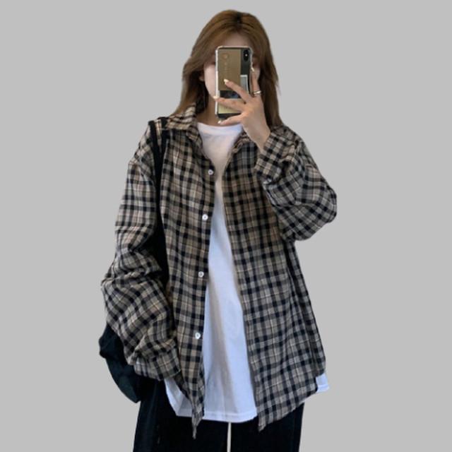 【トップス】シンプルカジュアル長袖チェック柄シングルブレストPOLOネックシャツ42291835