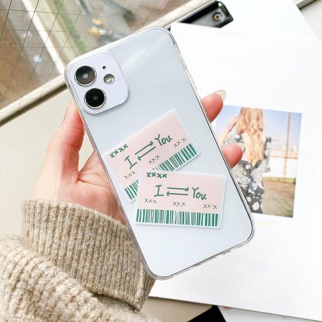 iPhone ケース 韓国 バーコードメッセージデザインクリアケース カップル シンプル 透明 クリア カバー TPU 個性的 シンプル 大人 女性 男性 傷防止 おしゃれ iPhone 7 8 SE2 X Xs XR 11 11Pro  XSmax 11Promax 12 12mini 12pro 12promax Galaxy ギャラクシー s9 s10 s20 スマホケース 携帯ケース オンリーユー onlyou オリジナル