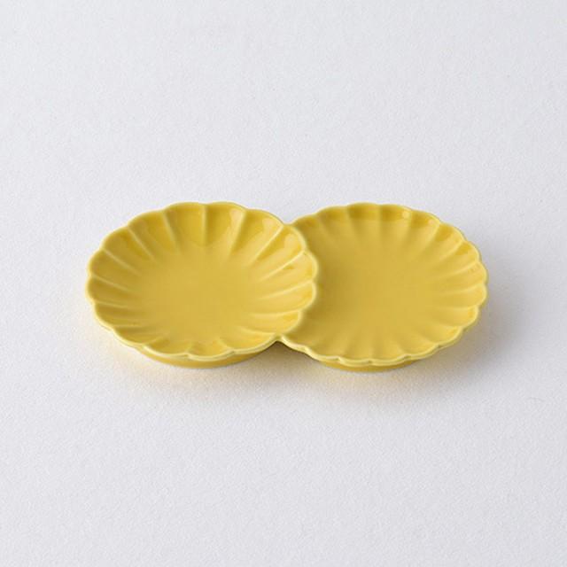 黄 小分け菊皿