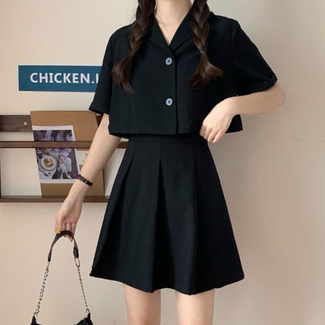 セットアップ シャツ + スカート 韓国ファッション レディース セット ジャケット ミニスカート 半袖 ハイウエスト 大人可愛い ガーリー / Suit two piece skirt net aging fashion (DTC-621828760494)